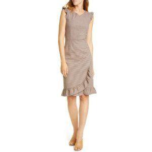 Rebecca Taylor Houndstooth Sheath Ruffle Dress